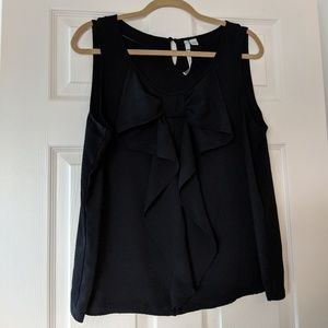 LC black blouse ruffle bow